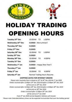 2019 Xmas & New Year Trading Hours