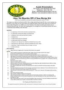 Ahoy Me Hearties IIPA Recipe Kit Instructions 212 x 299